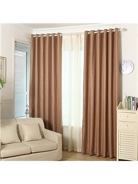 Blackout Solid Coffee Polyester and Lined Blend Grommet Top Curtain