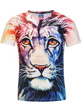 Colorful Lion Slim Fit Short Sleeves Men 3D Printed T-Shirt