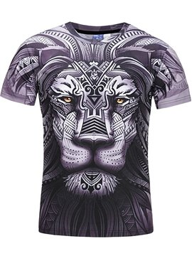 Cool Lion Face Round Neck Casual Tee 3D Printed T-Shirt
