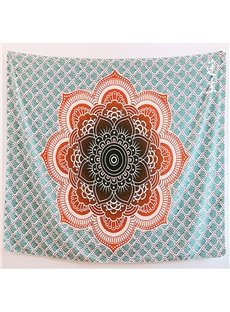 Orange Lotus Mandala Pattern with Grid Ethnic Style Decorative Hanging Wall Tapestry