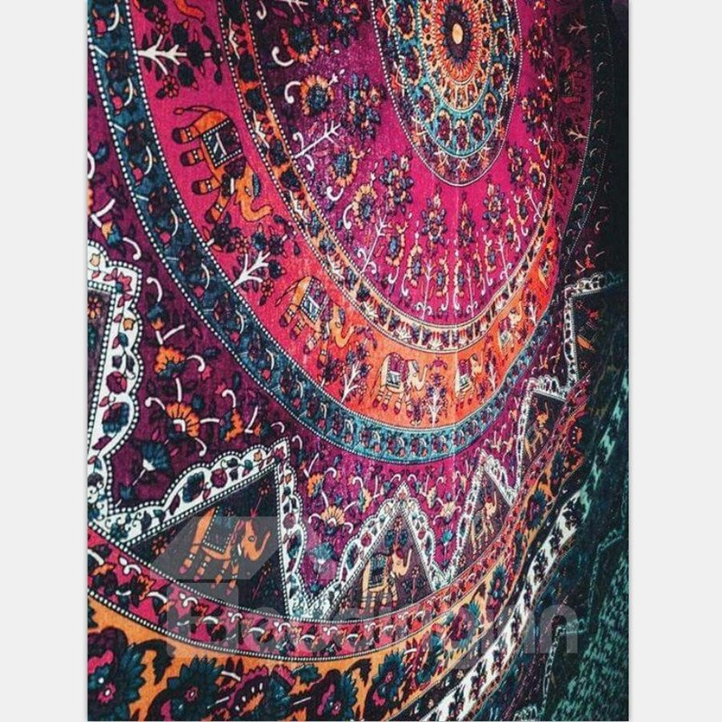 Half Colorful Mandala Pattern Bohemia Style Decorative Hanging Wall Tapestry