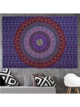 Gradient Purple Mandala Pattern Bohemia Style Hanging Wall Tapestries