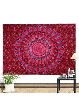 Red Mandala Pattern Bohemia Style Polyester Hanging Wall Tapestries