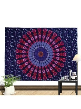 Red and Blue Mandala Pattern Ethnic Style Wall Tapestries