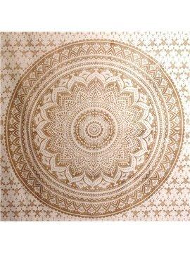 Yellow Gradient Mandala Pattern Ethnic Style Wall Tapestries
