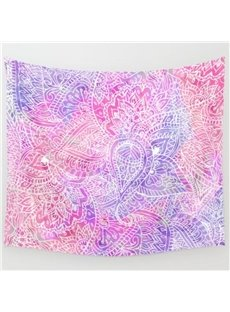 Pink Flower Linear Pattern Printing Ethnic Style Wall Tapestries