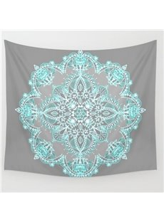 Pea Green Lotus Flower Pattern Ethnic Style Grey Wall Tapestries