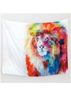 Colorful Lion Pattern Exotic Style White Wall Tapestries