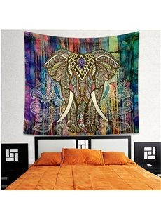 Elephant and Colorful Trees Pattern Ethnic Style Wall Tapestries