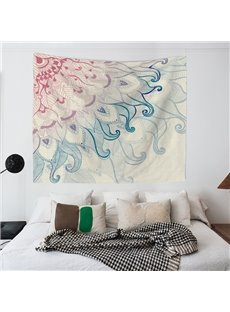 Pink and Green Gradient Flower Pattern Ethnic Style Wall Tapestries