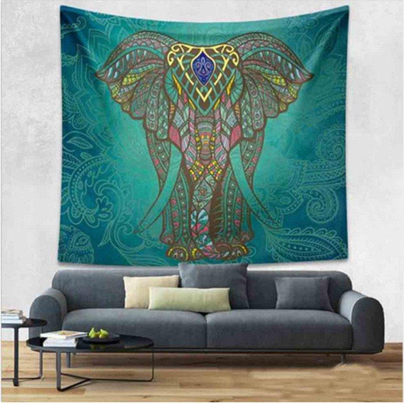 Big Elephant Pattern Ethnic Style Dark Green Hanging Wall Tapestries