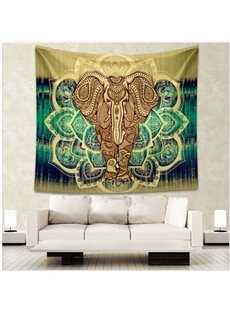 Elephant and Green Lotus Pattern Ethnic Style Wall Tapestries