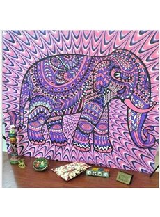 Purple Elephant Linear Pattern Boho Style Wall Tapestries