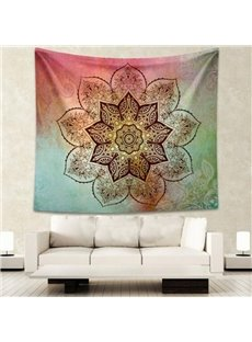 Black Lotus Flower Pattern Ethnic Style Colorful Hanging Wall Tapestries