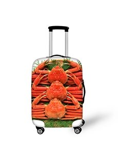 King Crab Seafood Fabric Stretch 18-30 Inch 3D Printed Suitcase Blue Luggage Covers