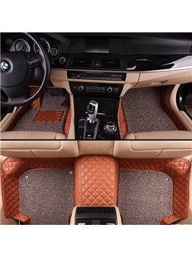 Luxury Series All Weather Plaid Patterns Double Layer Custom Car Floor Mats
