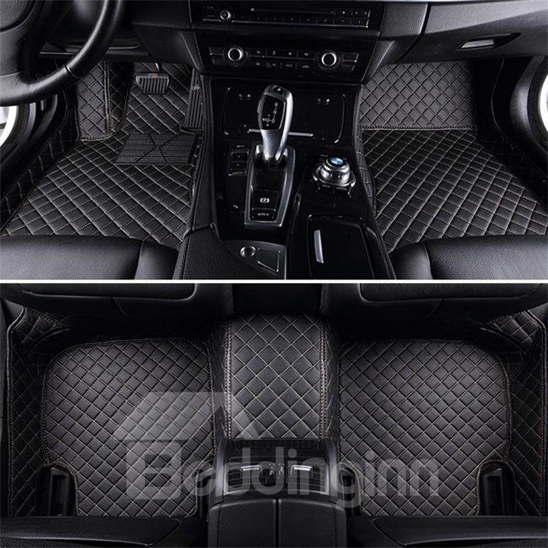 Plaid Trims Design Leather Carpet Fit Car Floor Mats Liners Pic