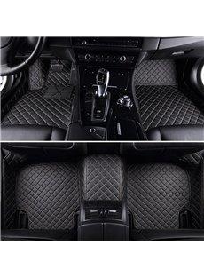 Luxury Series Plaid Trims Design Leather Custom Fit Car Floor Mats