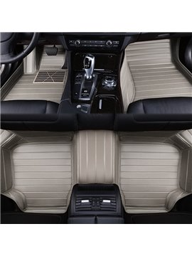 Business Style Plain Color Strips Pattern Protection Custom Fit Car Floor Mats