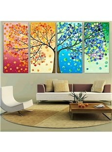 Colorful Tree Hanging 4-Piece Canvas Waterproof and Eco-friendly Non-framed Prints