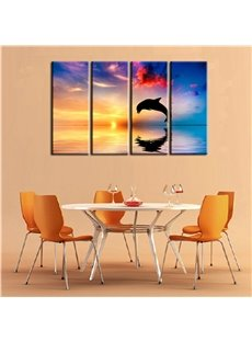 12×32in×4 Panels Golden Sunrise and Jumping Dolphin Hanging Canvas Non-framed Wall Prints