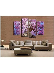 Purple Leaves Hanging 4-Piece Canvas Non-framed Wall Prints