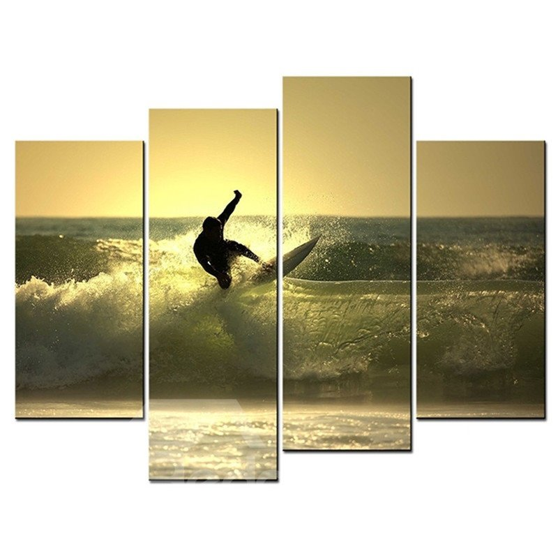 Surfing on The Sea Hanging 4-Piece Canvas Yellow Non-framed Wall ...