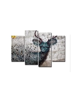 Wire Deer Hanging 4-Piece Canvas Non-framed Wall Prints