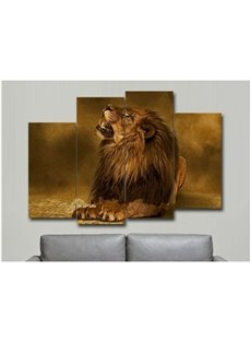 Brown Lying Lion Hanging 4-Piece Canvas Non-framed Wall Prints
