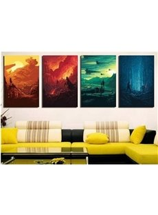 Yellow Orange Green and Blue Hanging 4-Piece Canvas Non-framed Wall Prints