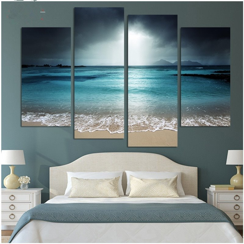 Peaceful Sea Level Hanging 4-Piece Canvas Waterproof and Environmental Non-framed Prints