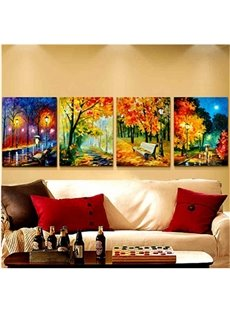 16×24in×4 Panels Yellow Leaves and Road Night Hanging Canvas Non-framed Wall Prints