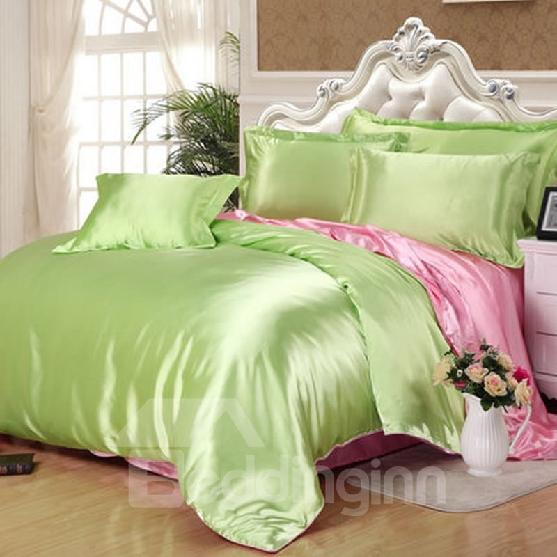 Light Green and Pink Color Blocking Luxury Silky 4-Piece Bedding Sets