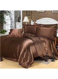 Dark Coffee Pure Color Luxury Silky 4-Piece Bedding Sets