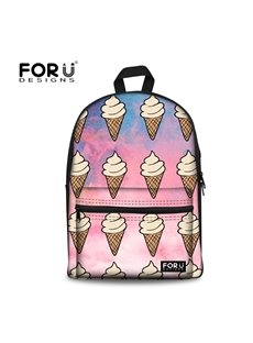 Red Blue Sky and Ice Cream Waterproof for Boys&Girls Outdoor Travel 3D Backpack