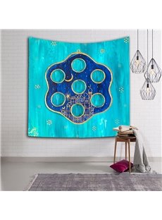 City under the Moon and Stars Exotic Style Blue Hanging Wall Tapestry