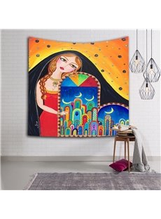 Sexy Girl with Blond Braid and Dreams Ethnic Style Wall Tapestries