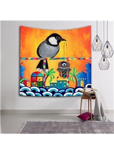 Bird Going Fish Ethnic Style Hanging Wall Tapestries