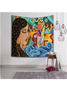 Sexy Girl and Sea Spray Ethnic Style Hanging Wall Tapestries