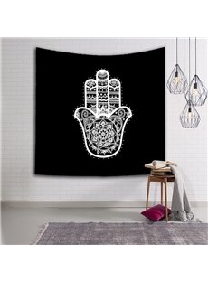 Indonesia Style Four Fingers Pattern Black Hanging Wall Tapestries