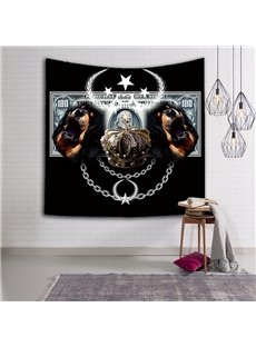 Chic Two Dogs and Crown Pattern Modern Style Hanging Wall Tapestries