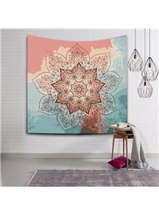 Pink and Green Color Blocking Lotus Ethnic Style Hanging Wall Tapestries