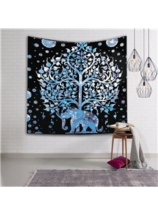 Silver Elephant and Tree Exotic Style Hanging Wall Tapestries