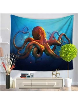 3D Red Octopus in Deep Blue Ocean Printed Hanging Wall Tapestry