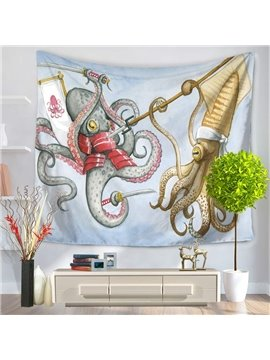 Two Octopuses Fighting Fiercely Modern Style Hanging Wall Tapestries