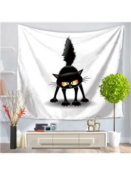Cartoon Black Cat with Its Tail Perked Up Hanging Wall Tapestries