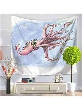 Cartoon Pink Octopus Fresh Style Light Blue Hanging Wall Tapestry