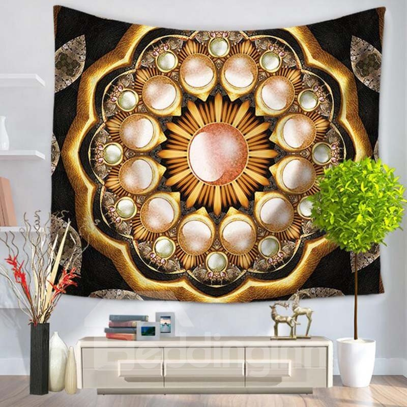 Ethnic Tribe Indian Mandala Prints Brown Hanging Wall Tapestry