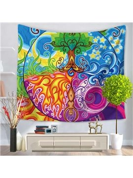 Colorful Oil Painting Trees and Grasses Hanging Wall Tapestries