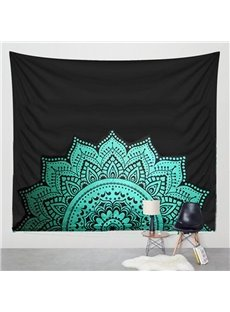 Blue Half of Mandala Pattern Ethnic Style Hanging Wall Tapestries